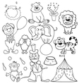 Coloring book with circus icons vector image vector image