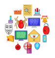 computer security icons set cartoon style vector image