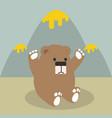cute bear with honey mountain vector image vector image