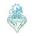 degraded line couple deer animal in float island vector image vector image