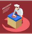 delicious food maker background vector image vector image