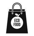 Eco food bag icon simple style vector image vector image