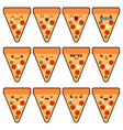 emoticon set pizza kawaii face character with vector image vector image