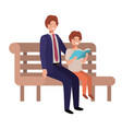 father and son sitting in park chair avatar vector image vector image