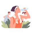 fit woman drinking water girl drinks during run vector image vector image
