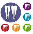 flippers icons set vector image vector image