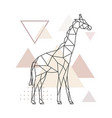 geometric giraffe on simple triangles background vector image vector image
