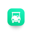 golf cart icon car on green shape vector image