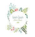 greeting card template with flowers leaves herbs vector image