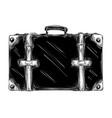 Hand drawn sketch retro suitcase in black