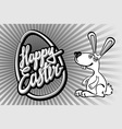 happy Easter card with rabbit outline vector image