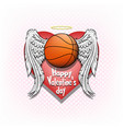 happy valentine day and basketball vector image
