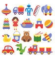 kids toys game toy peg-top teddy bear drum yellow vector image vector image