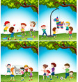 kids with fun activity vector image vector image