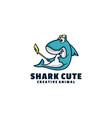 logo shark cute mascot cartoon style vector image