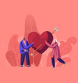 loving couple share huge red heart with arrow vector image