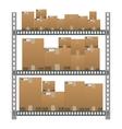 Metallic shelves with cartoon brown boxes vector image vector image