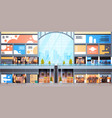 modern shopping mall interior big many boutiques vector image vector image
