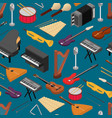 music instruments background pattern isometric vector image vector image