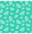 Pattern with white butterflies of random size vector image