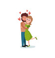 romantic couple in love hugging cartoon vector image vector image
