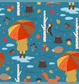 seamless autumn pattern with a girl under vector image vector image