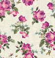 Seamless floral pattern with pink roses with vector image vector image