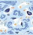 seamless pattern with seagulls in decorative style vector image vector image
