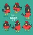 set funny cartoon rooster vector image