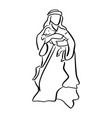 shepherd holding a sheep in nativity scene vector image vector image