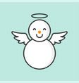 snowman with angel ring and wings filled outline