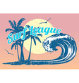 Surfing poster with wave and palm trees vector image