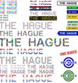 The Hague text design set vector image vector image
