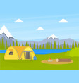 tourist tent on natural landscape with mountains vector image