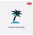 two color coconut tree standing icon from nature vector image