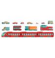 urban transport set with subway tram cars vector image