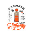vintage gas station pump badge retro hand drawn vector image