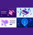 visualization banner set isometric style vector image vector image