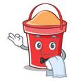 waiter bucket character cartoon style vector image vector image
