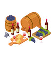 wine tasting concept isometric wine wooden vector image vector image
