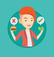 woman choosing between hamburger and cupcake vector image vector image