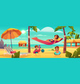 woman with kids resting on beach vector image