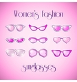 Women fashion isolated pink sunglasses set vector image vector image