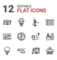 12 journey icons vector image vector image