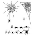 a set of silhouettes of spiders and cobwebs vector image