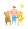 Animals friends fox bear bird and kid childish vector image vector image