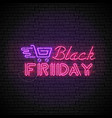 black friday red neon sign with purple shopping vector image