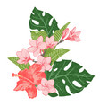 bright exotic tropical flowers and leaves vector image vector image