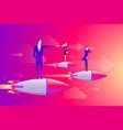 businessmen team standing on rocket ship flying vector image vector image