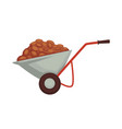 cart of farmer with harvest products organic vector image vector image